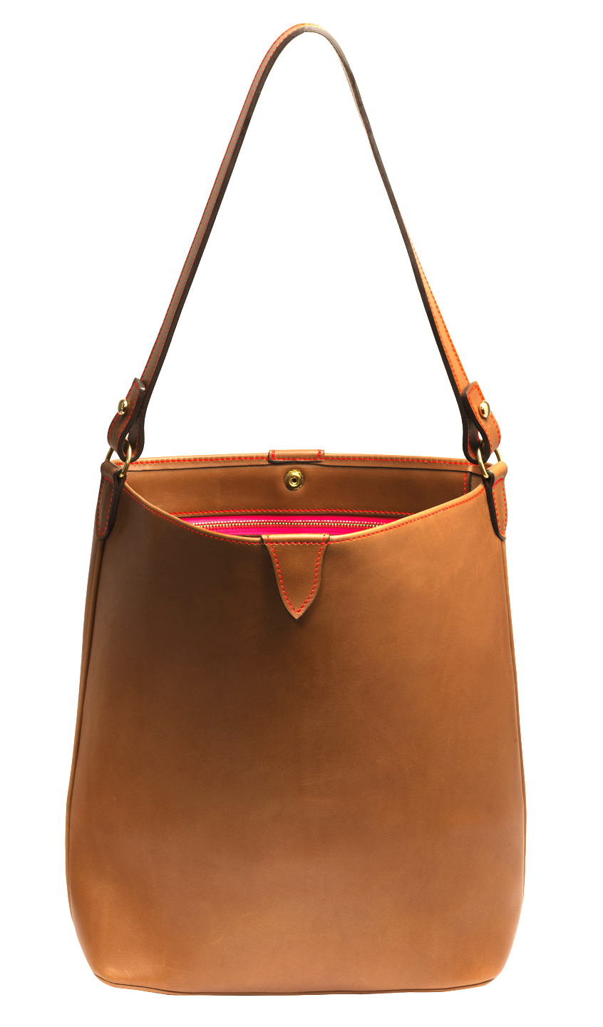 Calfskin bag Pêle Mêle Cognac fil Orange fluo - Maison Thomas