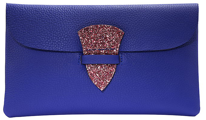 Maison Thomas - PIN UP Bleu Electrique glitter Framboise