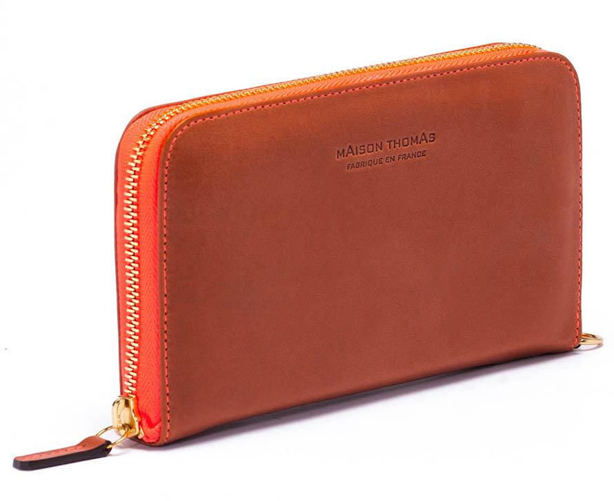 Maison Thomas - Permission en cuir et fil flo Orange