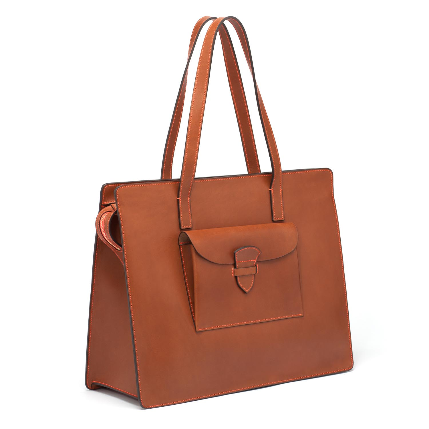 Sac en cuir de Veau Pulsation Cognac/fil Orange fluo - Maison Thomas